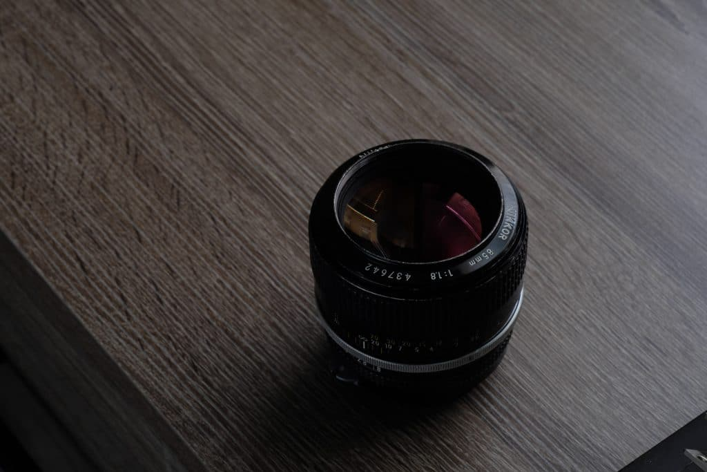 prime lens on a table